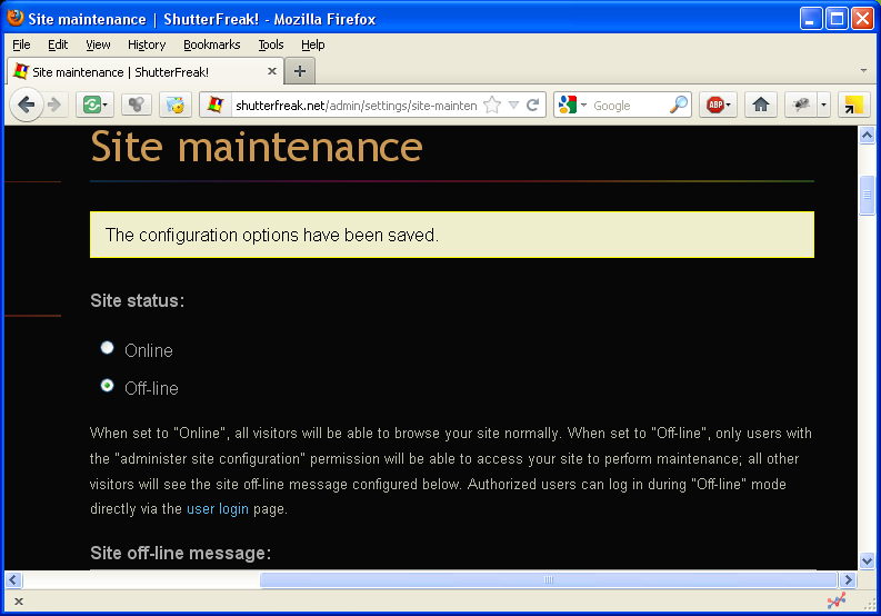 Drupal: maintenance mode enabled