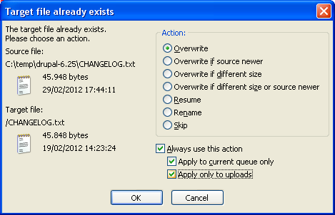 FileZilla: confirm overwrite dialog