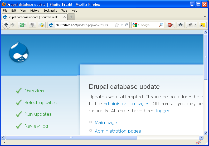 Drupal: update.php results