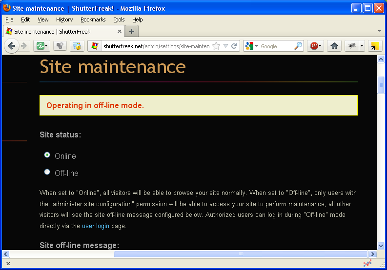 Drupal: disable maintenance mode